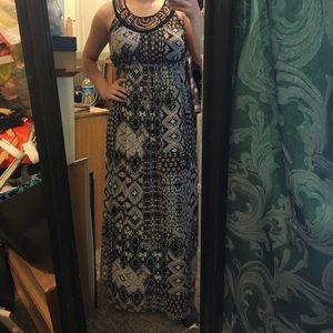 Full length patterned maxi dress w/ beaded collar